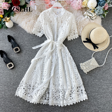 Women Elegant Hollow Out Lace Dress Office Lady Summer Solid