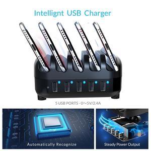 Image 5 - ORICO 5 портов USB Зарядное устройство Док станция с держателем для телефона или планшета 40 Вт 5V2.4A * 5 USB зарядка для iphone pad PC Kindle Tablet