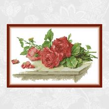 Red Rose on the Table Painting Counted 11CT 14CT Cross Stitch Wholesale DIY Cross-Stitch Kit Embroidery Needlework Home Decor red rose on the table painting counted 11ct 14ct cross stitch wholesale diy cross stitch kit embroidery needlework home decor