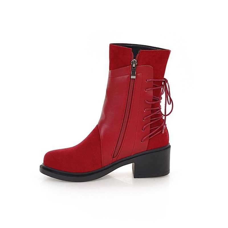 EGONERY kış yeni muhtasar orta buzağı çizmeler dışında rahat yuvarlak ayak çapraz bağlı akın artı boyutu kadın ayakkabı damla kargo