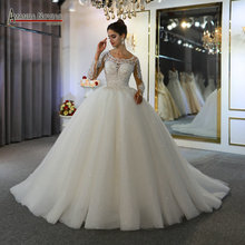 vestidos de novias lace dress elegant new wedding dress beautiful real work same as on photo
