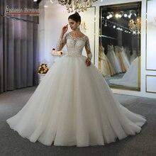 فستان من الدانتيل vestidos de novias أنيق فستان زفاف جديد جميل العمل الحقيقي نفس على الصورة
