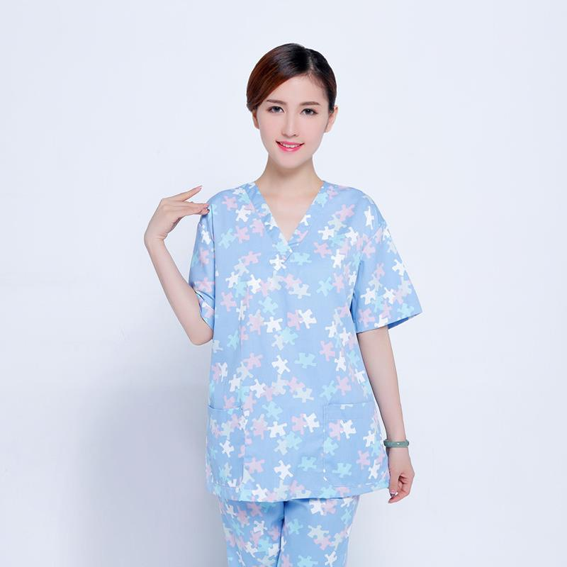 New Medical Scrubs 2 Pieces A Set Floral Print Nursing Uniforms Medical Clothing Dental Clinic Nurse Costume Surgical Suit