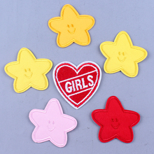 Pulaqi DIY Craft Pentagram Star Patch Custom Iron on Patches for Clothing Applique On Clothes Lovely Badges F