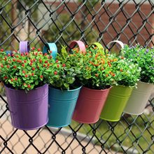 High Quality 10 Colors Hanging Flower Pots Hook Wall Pots Garden Pots Balcony Planters Metal Bucket Flower Holders Home Decor(China)