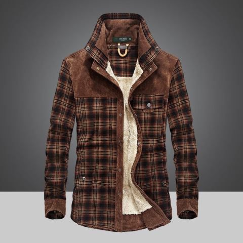 Brand Spring Winter Thick Plaid Shirt Men Long Sleeve Turn-down Collar Cotton Casual Wool Liner Warm Mens Shirts Chemise Homme Islamabad