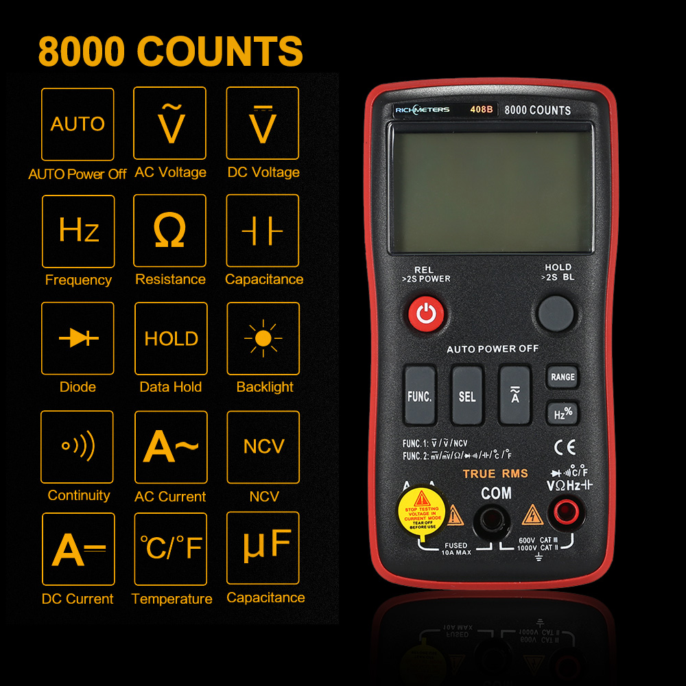 RICHMETERS RM408B True-RMS Digital Multimeter Button 8000 Counts With Analog Bar Graph Temperature Sensor Test AC/DC Voltage