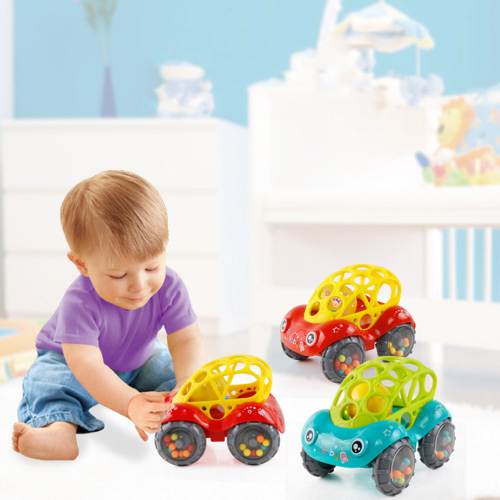 Kids Rattle Roll Car Ball Play Toy Game Gift Shaking Bell Shaking Bell Interactive Toys Baby Hand Catch Soft Rubber Toy Hot Sale