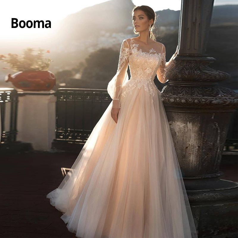 Booma Long Sleeve Wedding Dress Lace Appliqued Boho Wedding Gowns Elegant Bride Dress Back Illusion Lace Up Vestidos De Noiva
