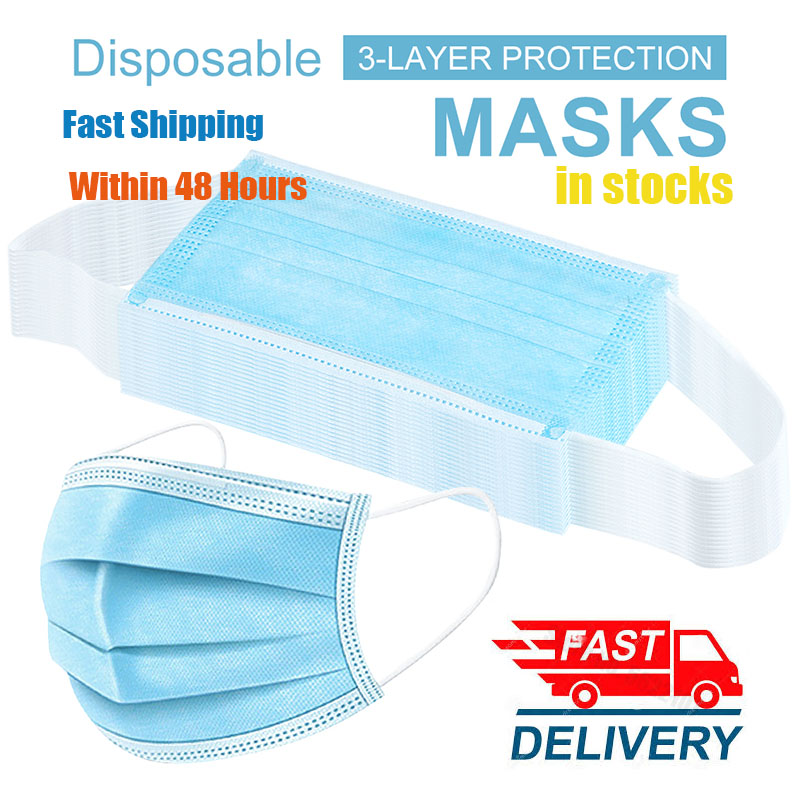 100pcs In Stock Face Mouth Mask Masks Non Woven Mouth Mask Face Filter 3 Layer Protection Hanging Ear Masks Korean 일회용마스크