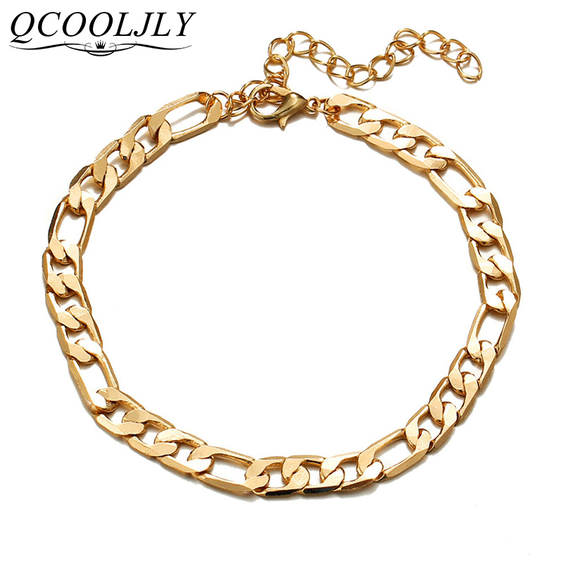 QCOOLJLY Vintage Golden Cuba Link Chain Anklets For Women Men Anklet Bracelet Fashion Beach Accessories Jewelry 2019 image