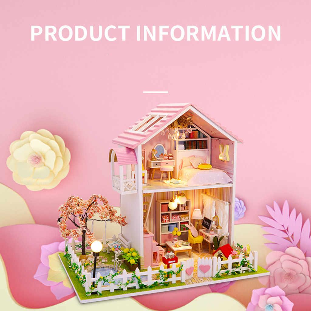 Rumah Boneka DIY Miniatur Rumah Boneka Model Mainan Kayu Furniture Ideas Rumah Boneka Mainan Hadiah Ulang Tahun # G5