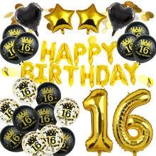 Amwill feliz aniversário 18 20 21 30 40 50 60 70 80 90 anos de idade decoração de aniversário doce 16 festa número digital látex balão