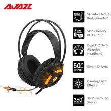 O fone de ouvido do jogo de ajazz ax120 sobre a orelha 3.5mm + tomada de usb com os earmuffs 50mm do plutônio do mic da redução de ruído conduz o som 360 ° 7.1 do surround