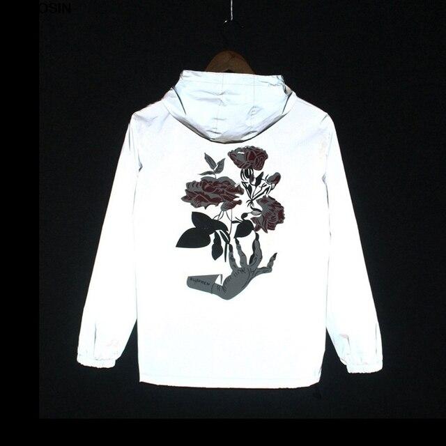 Spring autumn Hand Flowers Men windbreaker reflective jacket casual hip hop harajuku streetwear night shiny hooded coat hot