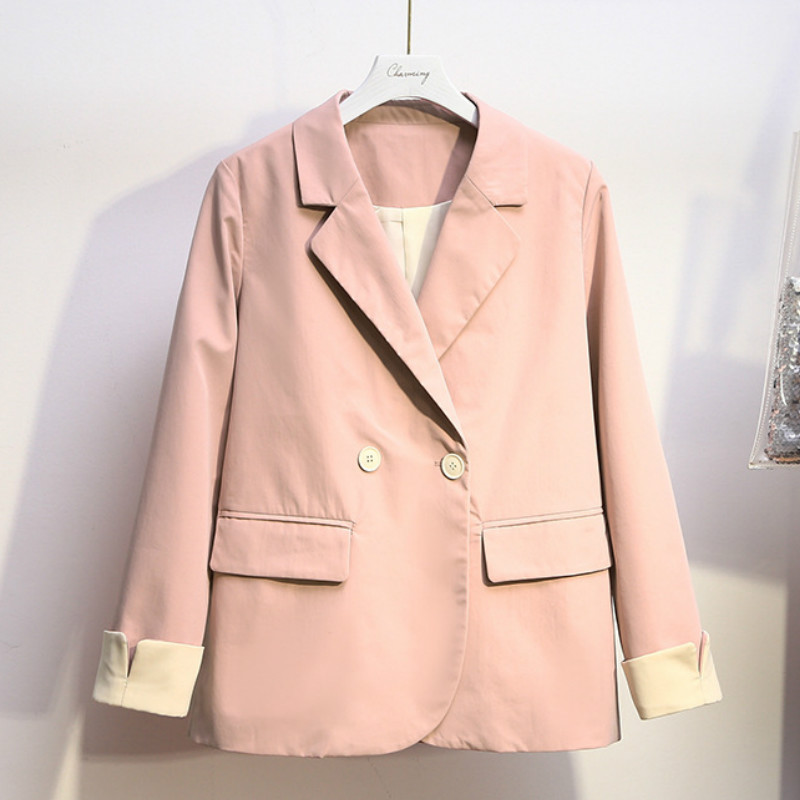 Plus size XL-5XL women's blazer 2020 new casual double-breasted jacket feminine Spring and summer loose small suit
