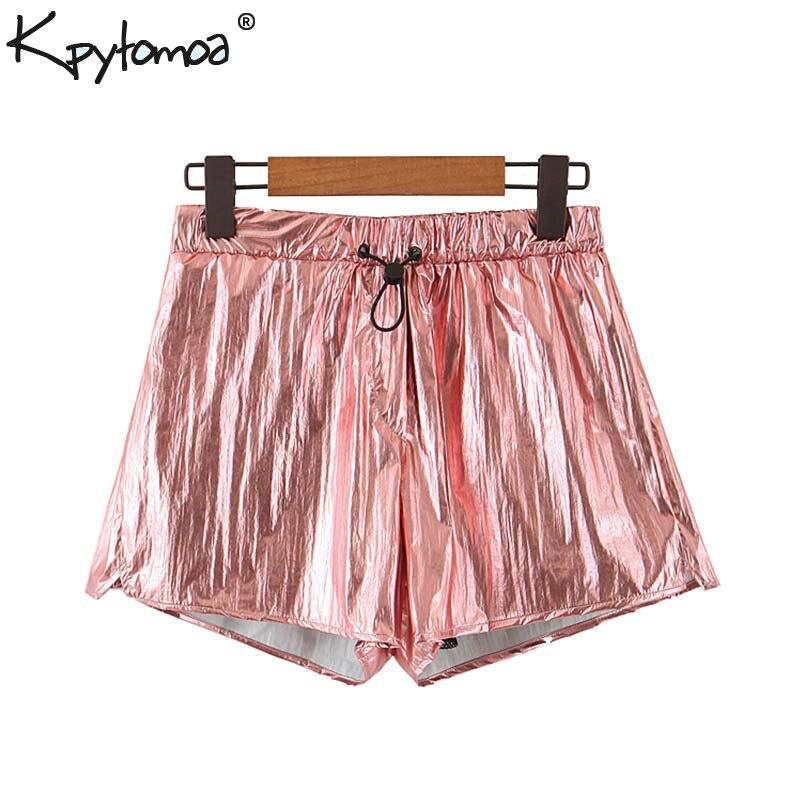 Vintage Stylish Solid Shorts Women 2019 Fashion Elastic Waist Drawstring Tie Short Pants Casual Pantalones Cortos