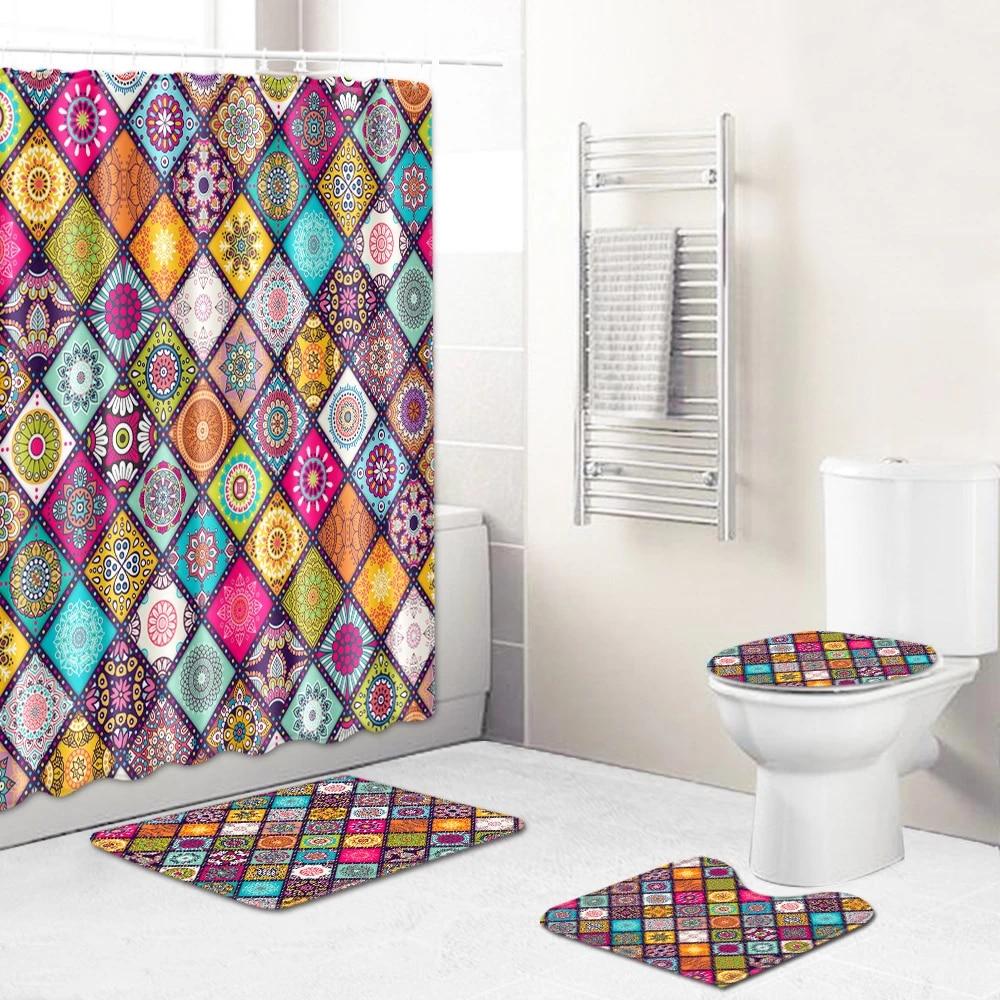 Bohemia Style Shower Curtain Rug Set Bath Mat Non-Slip Toilet Lid Cover