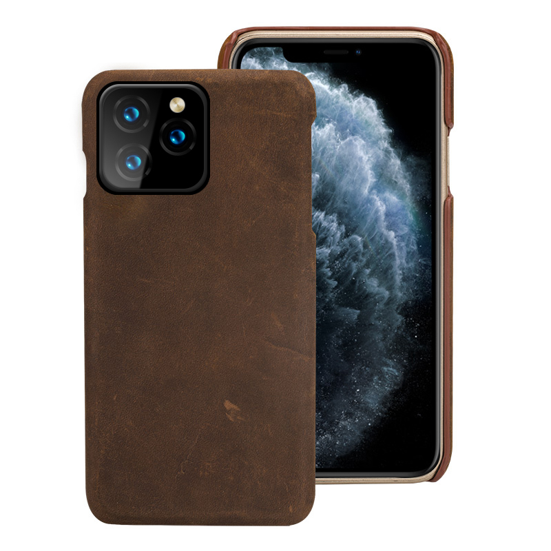 Genuine Leather phone case for iphone 11 pro max Crazy Horse Luxury Vintage coque for Apple