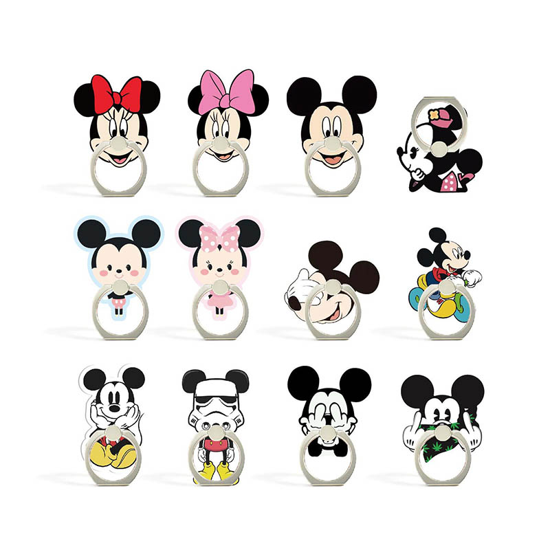 Universal Metal Hot Finger Ring Mobile Cell Phone Cute Cartoon Minnie Mickey Phone Holder Stand For IPhone XS XR Bracket
