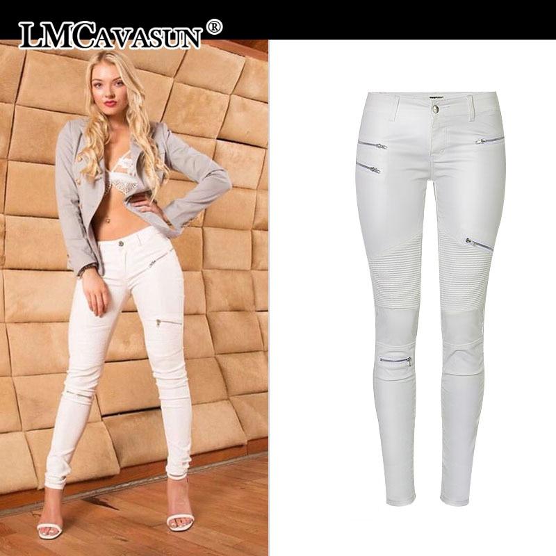 Women PU leather pants fashion White Leggings wild Slim pencil pants zipper motorcycle leather pants for women trousers