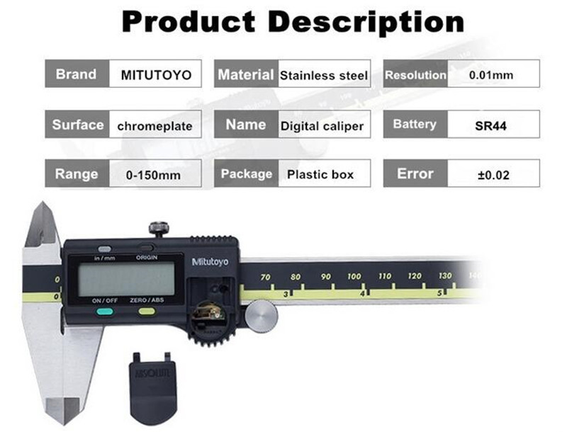 Mitutoyo Calipers Digital Vernier Calipers 0-150 0-200mm LCD 500 196 20 Caliper Electronic Measuring Stainless Steel