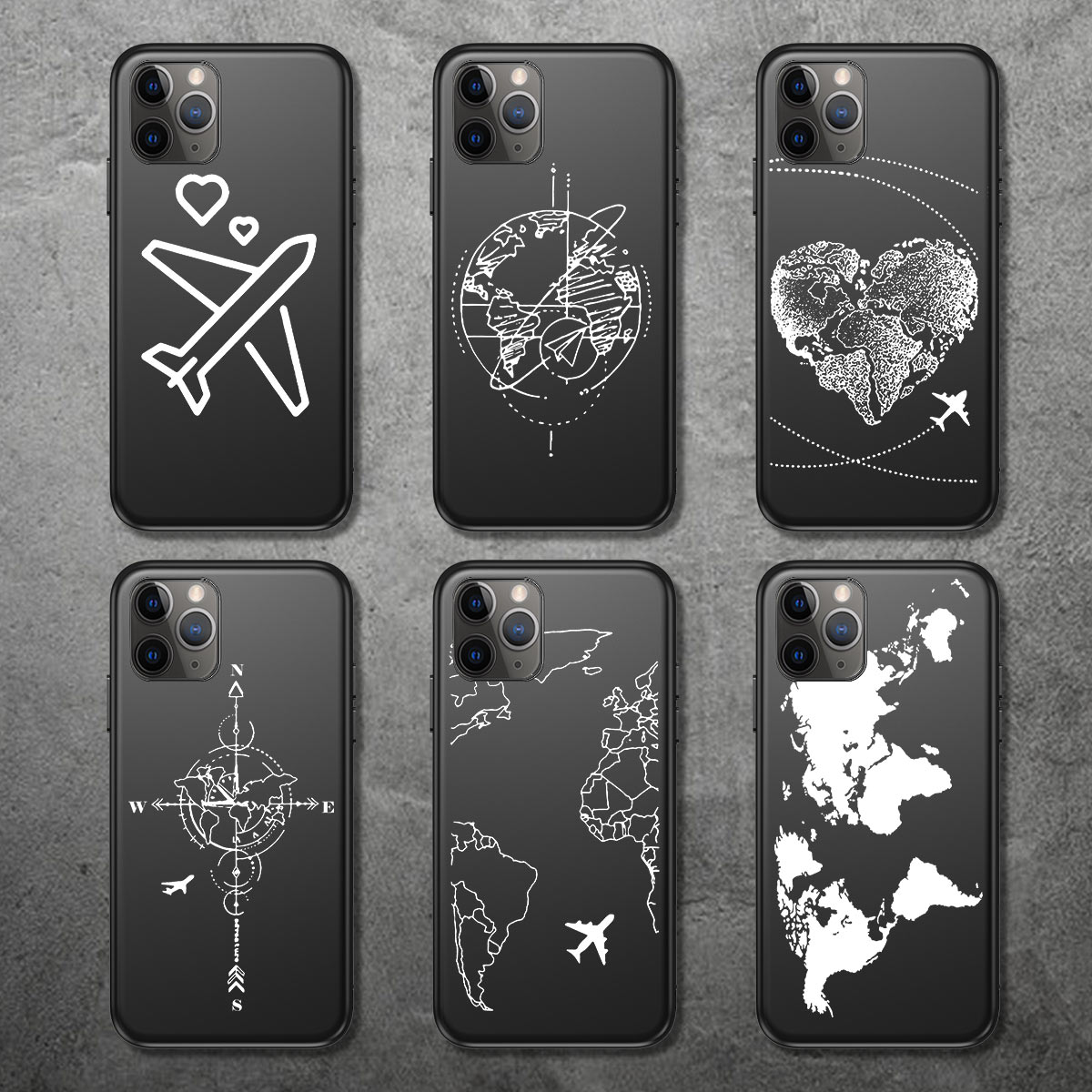 Ottwn Airplane Phone Case For iPhone 11 Pro XS Max 6 6S 7 8 Plus XR X 5 5S SE Cartoon Black World Map Love Soft TPU Back Cover