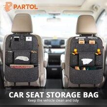 Partol 1pc Universal Car Seat Storage Bag Organizer Auto Black/Grey/Beige Organize Seat Back Bag Drinks/Tissue/Pad Container