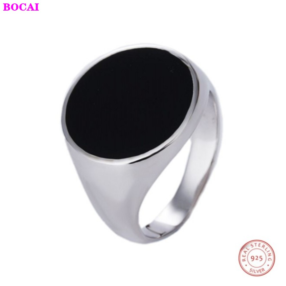 Simple Round High-end S925 Sterling Silver Men's Ring 2020 New Style Fashion Thai Silver  Exquisite Pure Silver Rings For Men
