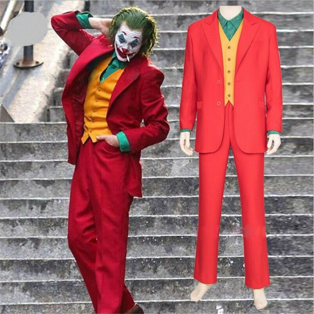 Kids Girls Boys Movie Joker Arthur Fleck Cosplay Costume Fancy Carnival Halloween Costumes Batman Cosplay Joker Costume Red Suit