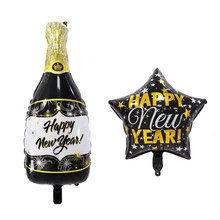 New 2020 Happy New Year Black Champagne Bottle Foil Balloons Brithday Party Decor Adult Wedding Bachelorette Party Supplies Noel(China)