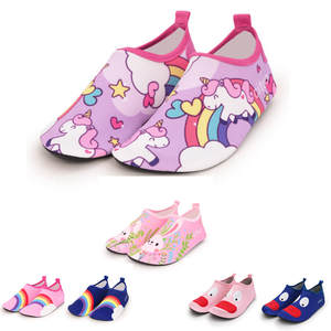 Summer Kids Slippers Carton Rainbow Unicorn for Boy Girl Water Shoes Children Barefoot Quick-Dry Diving swim Beach Non-Slip