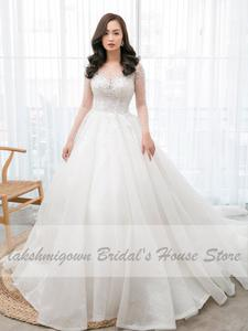 Bridal-Dress Wedding-Gowns Beaded Crystal Tulle Lace-Up Long-Train Long-Sleeve Sexy Princess