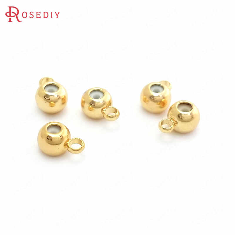 10pcs Copper Gold Plating Jewelry Charms 8mm Hollow Spacer Beads Round
