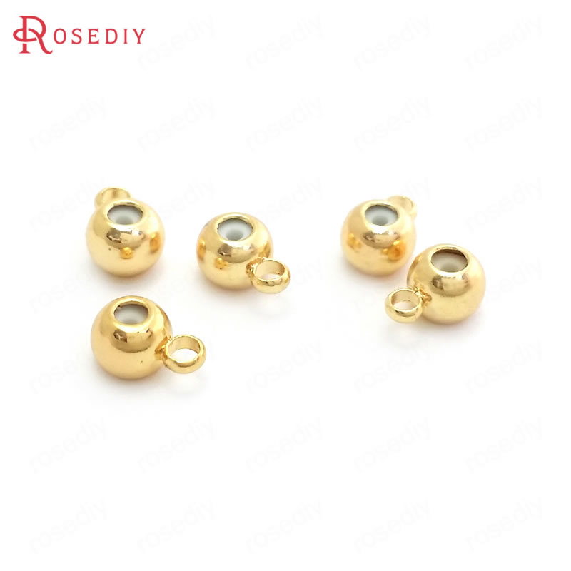 10PCS 3MM 4MM 5MM 6MM 24K Gold Color Brass And Rubber Spacer Beads Charms Connector Diy Jewelry Findings Accessories