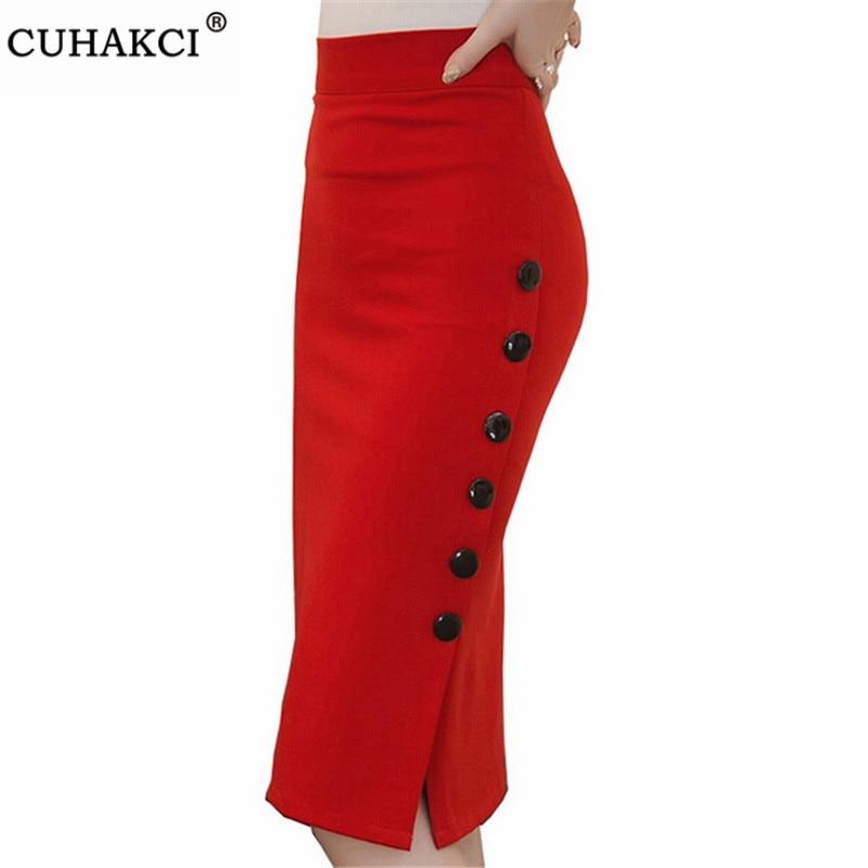 CUHAKCI Sexy Women Elegant High Waist Pencil Skirt Open Slit Knee-Length Plus Size 4XL 5XL New Slim Button Red Black