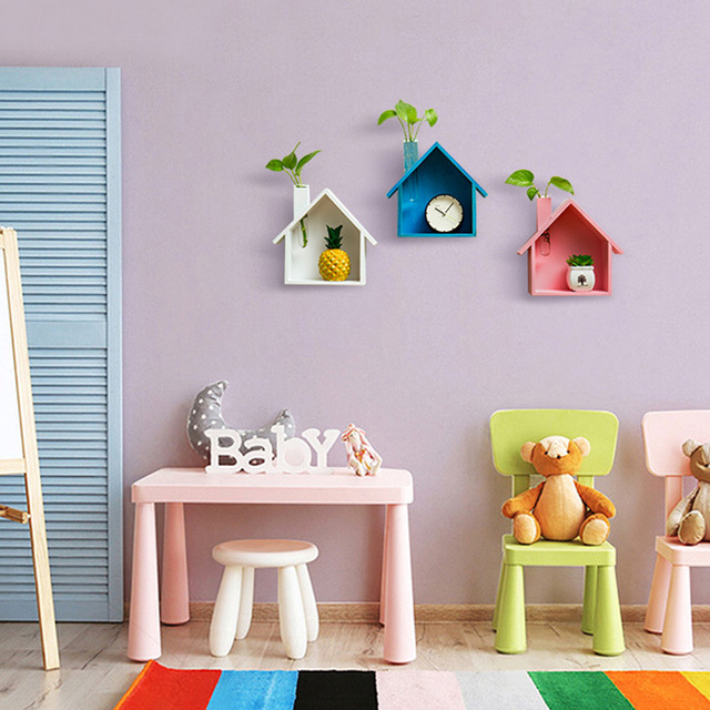 Creative Wooden Wall Decor Retro Colored House Shaped Shelf Shelves Wood Children Bedroom Craft Decor Wall Mounted Display Shelf 3