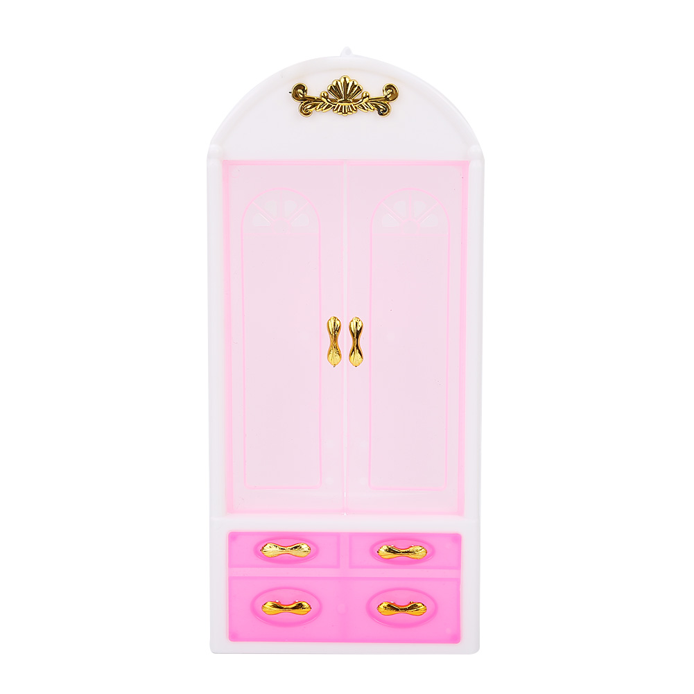 Doll Accessories Baby Toys Pink White Closet Wardrobe Cabinet For Girl Doll Girls Princess Bedroom Furniture Accessory