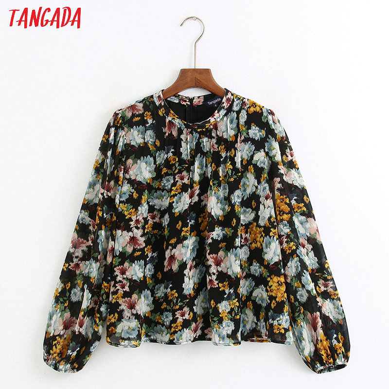 Tangada Women Retro Floral Print Chiffon Blouse Long Sleeve Chic Female Casual Pleated Shirt Blusas Femininas 6Z29