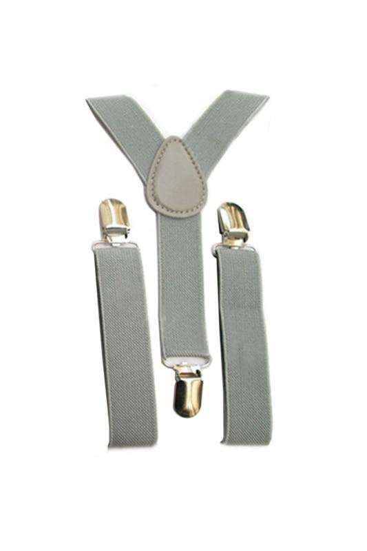Kids Boys Girls Y-Back Suspender Elastic Adjustable Clip-On Braces Light Grey