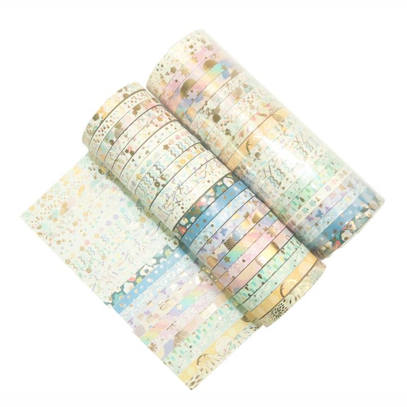 24Rolls/Set Foil Slim Washi Tape DIY Decoration Scrapbooking Planner 5mm*4m Masking Tape Adhesive Tape Label Sticker Stationery