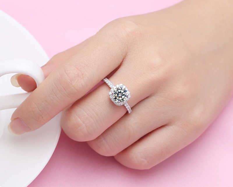 Yanhui Mewah Asli 925 Perak Padat Cincin Klasik 1 Karat Zirkonia Diamond Perhiasan untuk Wanita Pernikahan Pertunangan Cincin R1129