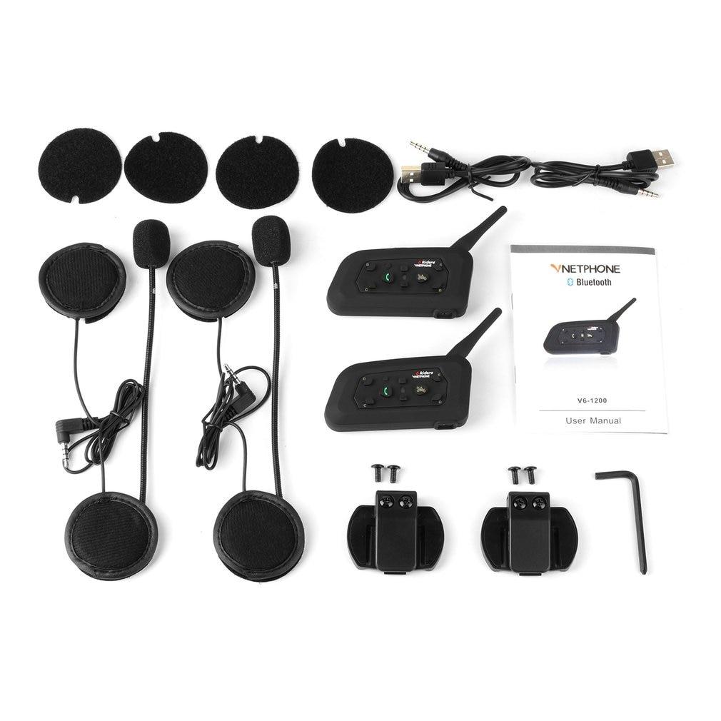VNETPHONE V6-1200 Motorcycle Communicator 2-in-1 Helmet Intercom Headset With Mic Interphone For 6 Riders
