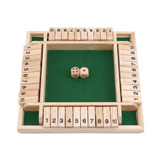 Shut The Box Dice Board Game Board Game In French Creative Toys 4 Sided 10 Number Wooden Flaps & Dices Game Set for 4 People Pub