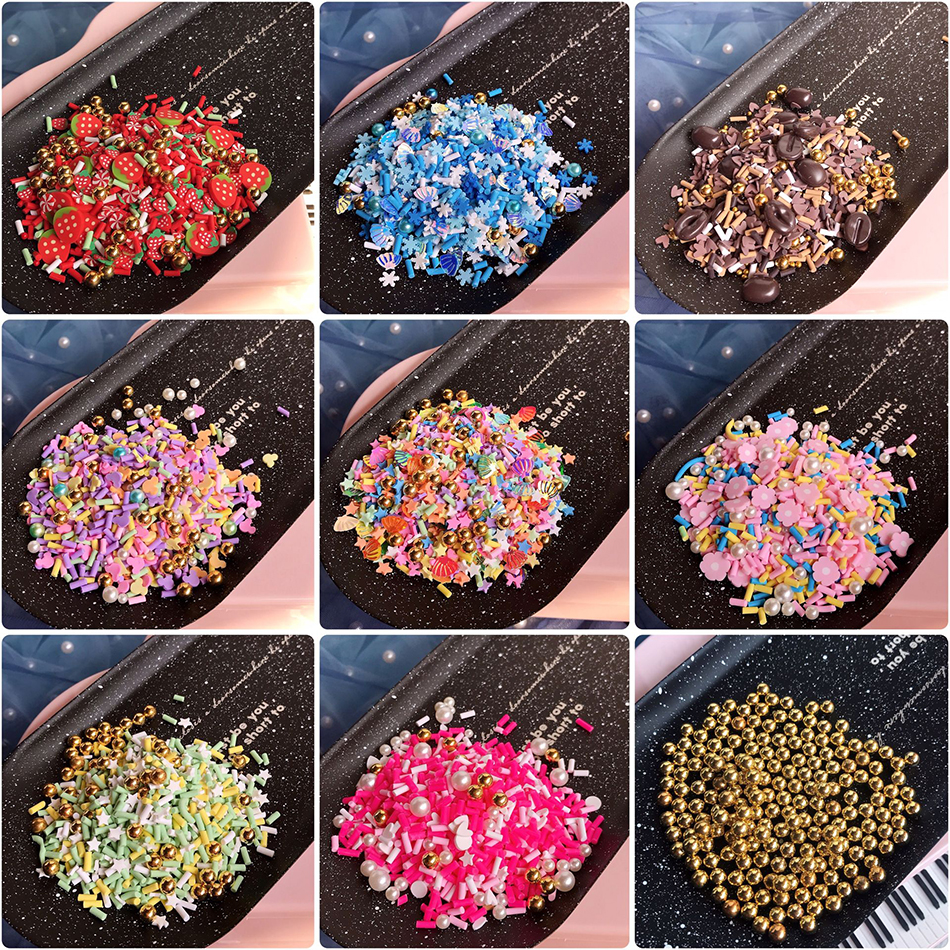Happy Monkey 20g  Polymer Clay Mix Slime Additives Supplies Fruit Flower Beads DIY Kit SprinkleS For Fluffy Clear Slime Clay
