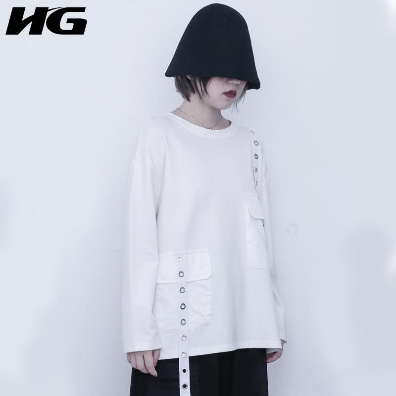 HG Punk épissure ruban blanc t-shirt femmes à manches longues t-shirt Style neutre surdimensionné automne 2019 haut tendance femmes ZYQ1731