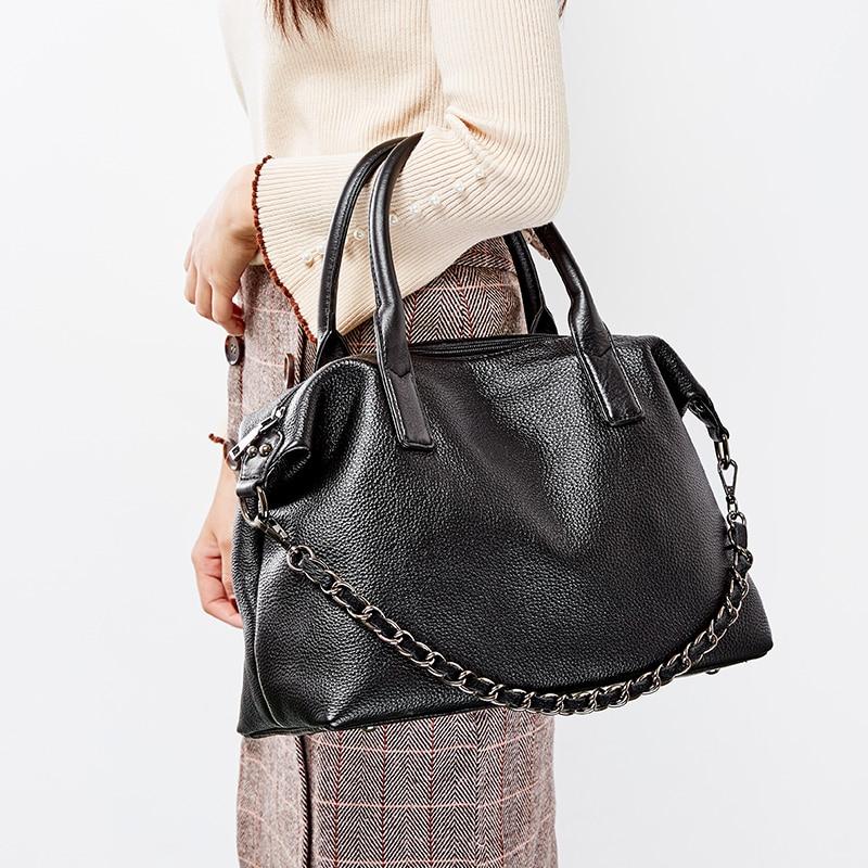 Zency 100% Genuine Leather Daily Casual Women Tote Handbag Classic Black Large Capacity Shoulder Bags Elegant Lady Crossbody Bag