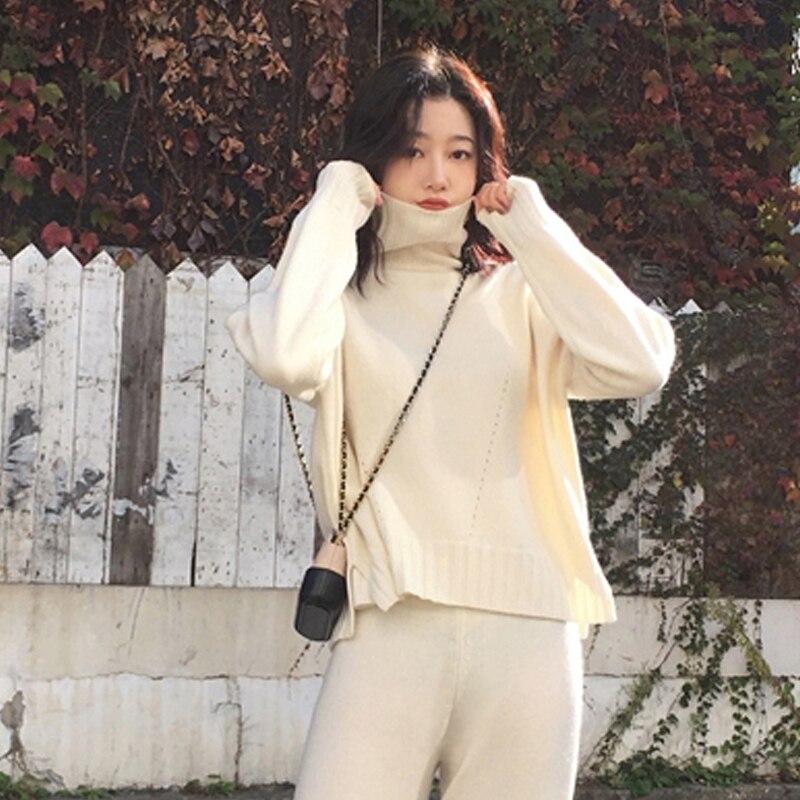 Image 3 - Outono inverno malha agasalho gola alta sweatshirts para as  mulheres terno roupas 2 peça conjunto de malha topo calça feminina  ternoConjuntos femininos