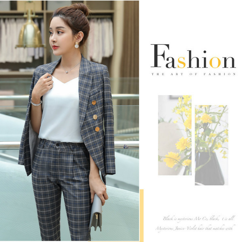 Professional lady blazer 2020 new spring and autumn casual ladies jackets high quality Fashion check small suit Feminine