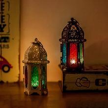 Nuevo portavelas de cristal vintage linterna en jaula portavelas hueco decoración del hogar de la boda vela lámpara de mesa